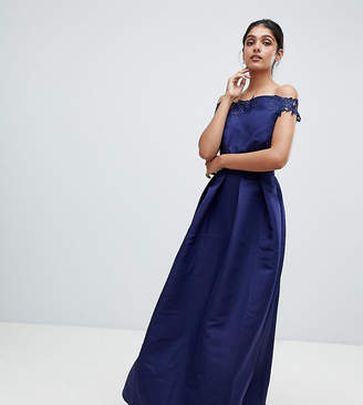 Little Mistress Tall bardot full prom midaxi dress with applique