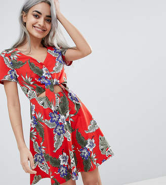 Asos DESIGN Petite Skater Sundress With Button Front And Tie Knot In Hawaiian Print