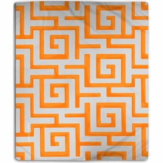 IDG Greek Key Coral Fleece Throw, Orange
