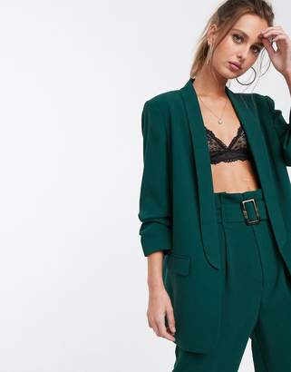 Stradivarius ruched sleeved blazer in green