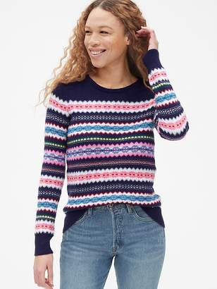 Gap Fair Isle Stripe Pullover Crewneck Sweater