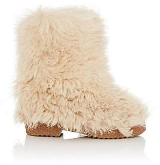 Saint Laurent Women's Booly Lambswool Ankle Boots - Cream