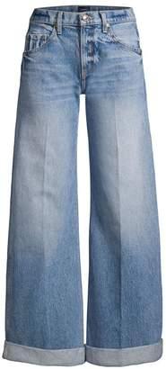 KHAITE Noelle Wide Leg Cuffed Jeans