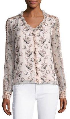 Nanette Lepore Boticelli Long-Sleeve Floral Voile Blouse, Pink $498 thestylecure.com