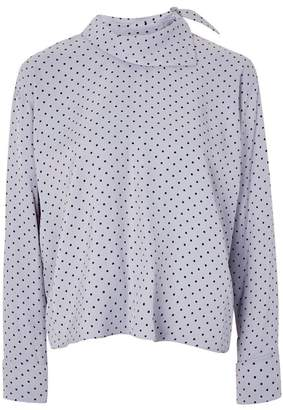 Topshop Spot Fold Neck Top