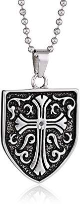 Black Diamond Cold Steel Stainless Steel 0.05Ct Celtic Cross Shield Men's Pendant Necklace