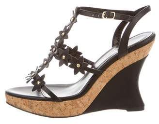 Oscar de la Renta Leather Wedge Sandals