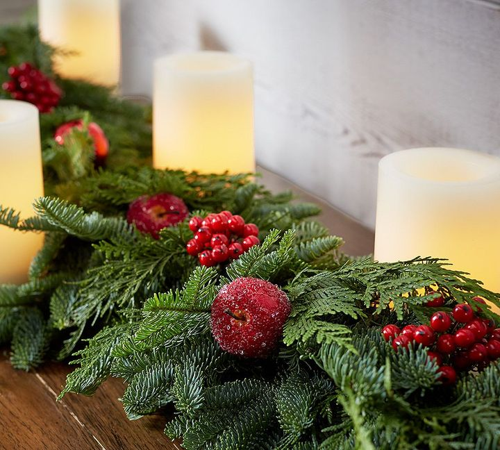 Pottery Barn Live Fir & Red Fruit Garland