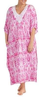 Ellen Tracy Plus Printed Lace Caftan