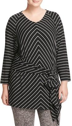 Marina Rinaldi Vanda Striped Jersey Tunic $275 thestylecure.com