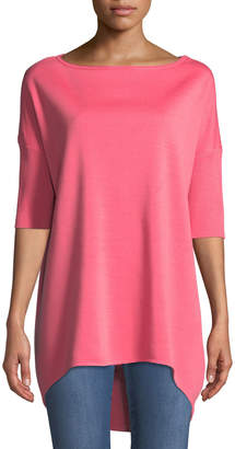 St. John Milano Knit Half-Sleeve High-Low Tunic