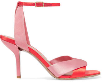 Diane von Furstenberg Fiona Satin And Suede Sandals - Antique rose