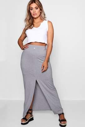 3e8371844 boohoo Plus Button Front Split Maxi Skirt
