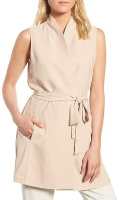 Eileen Fisher Silk Georgette Crepe Long Vest