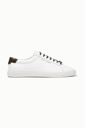 Saint Laurent Andy Twill-trimmed Leather Sneakers - White