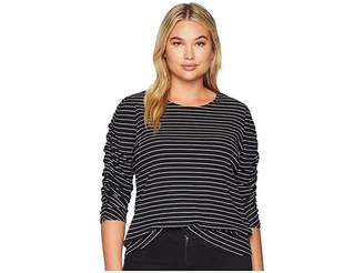 Vince Camuto Specialty Size Plus Size Ruched Long Sleeve Thin Ribbed Stripe Top