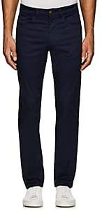 Luciano Barbera MEN'S STRETCH-COTTON FLAT-FRONT TROUSERS-NAVY SIZE 40