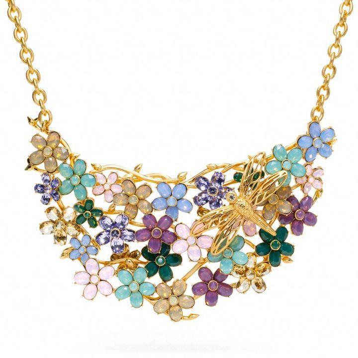 Coach Garden Flower Bib Necklace