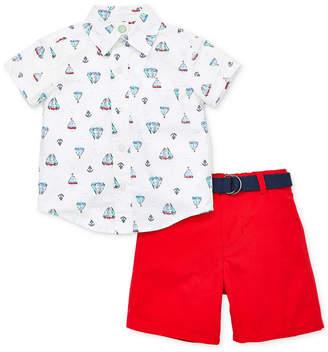 Little Me Baby Boys 3-Pc. Cotton Shirt, Belt & Shorts Set