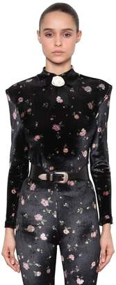 Philosophy di Lorenzo Serafini Floral Printed Stretch Velvet Top