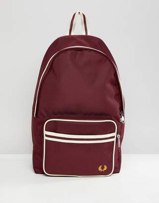 Fred Perry twin tipped backpack in burgundy