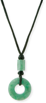 David C.A. Lin Open Green Jade Circle Pendant Necklace on Cord