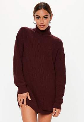 Missguided Burgundy Turtle Neck Knit Sweater Dress