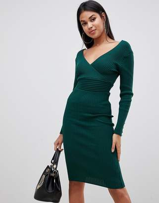 Lipsy plunge neck knitted midi dress in olive green