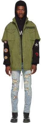 R 13 Green Oversized Cut-Off M65 Jacket