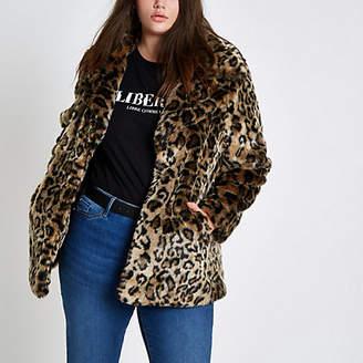 River Island Plus leopard print faux fur coat