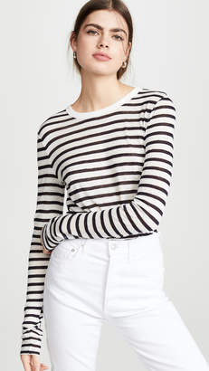 Alexander Wang Classic Striped Slub Jersey Long Sleeve Tee