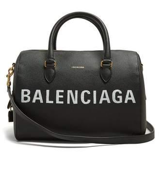Balenciaga Ville Bowling M Leather Bag - Womens - Black White
