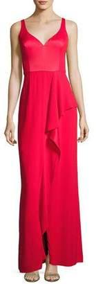 Aidan Mattox Sleeveless Draped Stretch Crepe Gown, Red