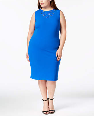 Calvin Klein Plus Size Eyelet-Trim Sheath Dress