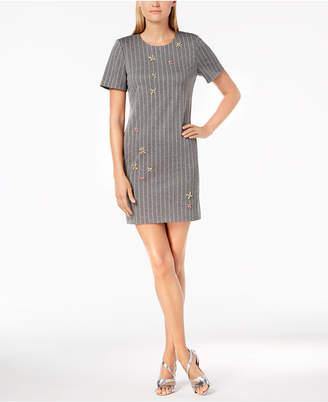 Calvin Klein Rhinestone-Embellished Pinstripe Sheath Dress
