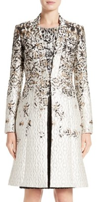 Women's St. John Collection Pixelated Metallic Jacquard Topper $2,295 thestylecure.com