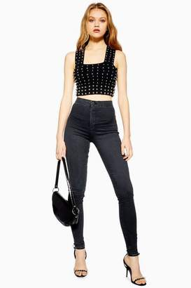 Topshop Tall Washed Black Joni Jeans