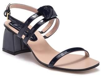 Stuart Weitzman Rosetta Leather Block Heel Sandal