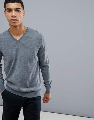 Calvin Klein Golf Merino Wool Knited V Neck Jumper In Grey C9145