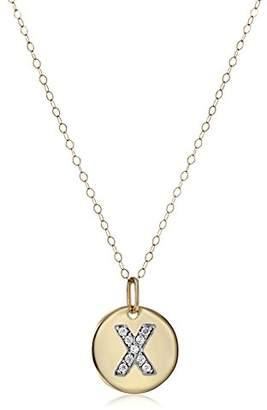 "14k Disc Diamond Initial""X"" Pendant Necklace"