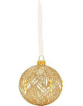 clear Christmas Shop Orn -Gold Decoration On Glass Bauble