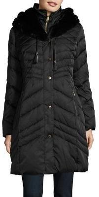 Via Spiga Faux Fur Detail Puffer Coat