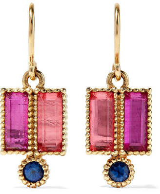 Larkspur & Hawk - Cora Double 14-karat Gold, Sapphire And Quartz Earrings