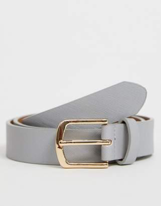 Asos Design DESIGN Wedding faux leather slim belt in grey with gold buckle