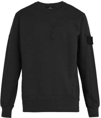 Stone Island Shadow Project - Crew Neck Zip Pocket Cotton Sweatshirt - Mens - Black