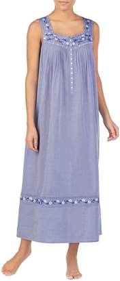 Eileen West Embroidered Long Chambray Nightgown
