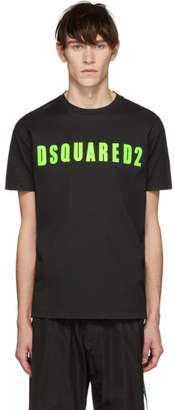 DSQUARED2 Black and Green Acid Glam Punk Cool Fit T-Shirt
