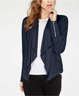 INC International Concepts I.n.c. Faux-Suede Double-Layer Drape-Front Jacket