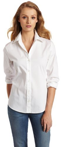 Chaus Women's Long Sleeve Button Down Shirt, Ultra White, 14
