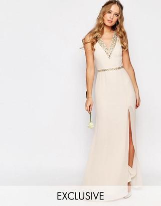 TFNC WEDDING V Front Embellished Strap Maxi Dress $122 thestylecure.com